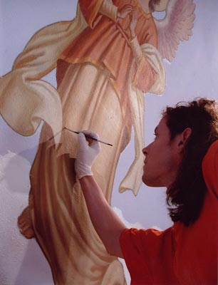 geoff kostecki restoring a painting of an angel